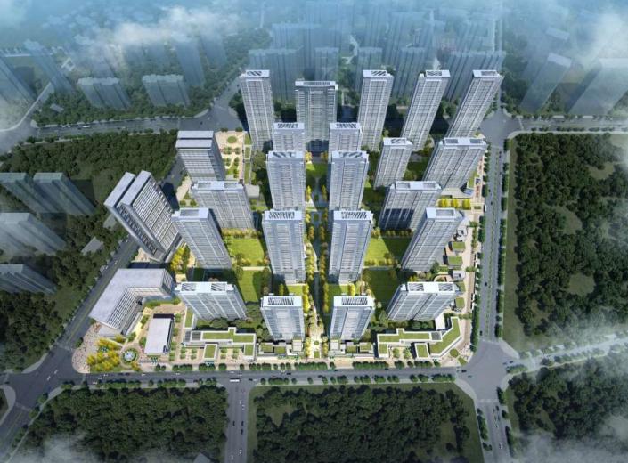 武汉某创塔子湖高层住宅_公寓塔楼方案文本-方案一鸟瞰图