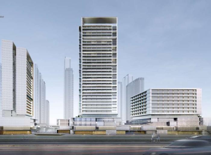 武汉某创塔子湖高层住宅_公寓塔楼方案文本-方案一效果图1