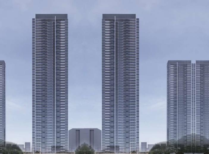 武汉某创塔子湖高层住宅_公寓塔楼方案文本-方案一效果图4