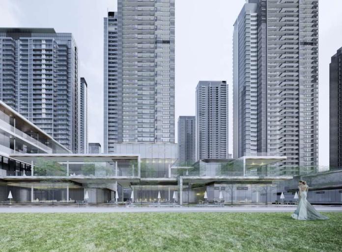 武汉某创塔子湖高层住宅_公寓塔楼方案文本-方案一效果图3