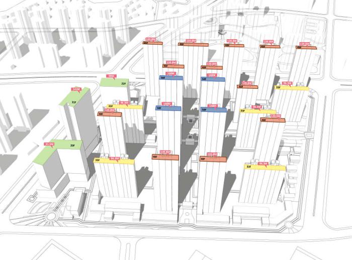 武汉某创塔子湖高层住宅_公寓塔楼方案文本-方案一建筑高度