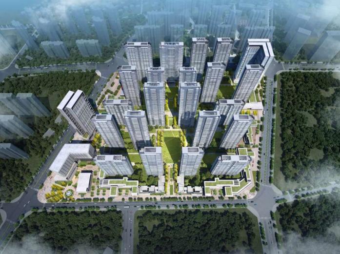 武汉某创塔子湖高层住宅_公寓塔楼方案文本-方案二鸟瞰图