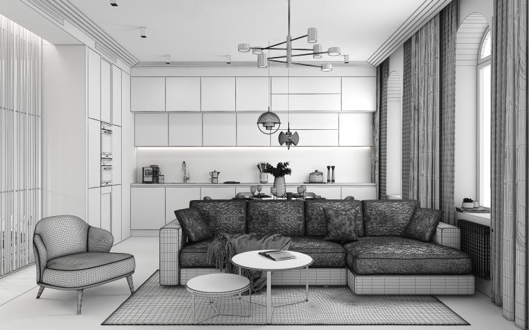 现代简约家装客餐厅3D模型+效果图_2