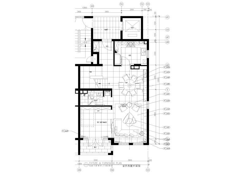 [上海]134㎡现代三居室复式室内装修施工图_1