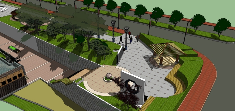 城市广场城市公园设计44个广场公园景观模型_4