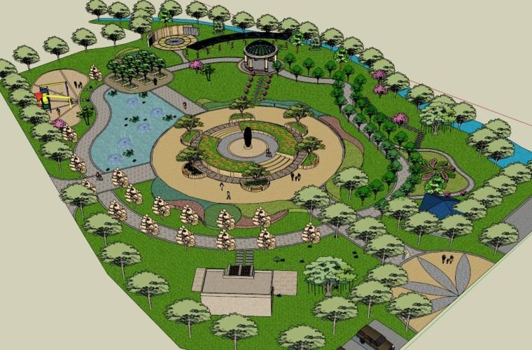 城市广场城市公园设计44个广场公园景观模型_9