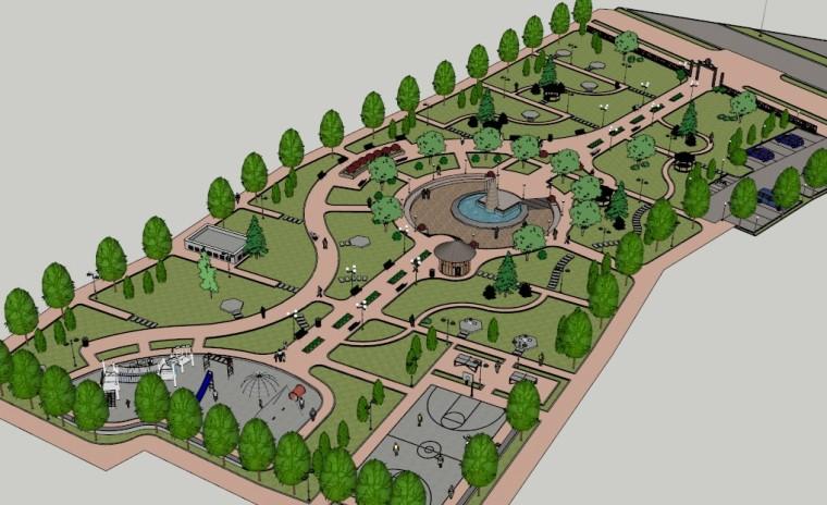 城市广场城市公园设计44个广场公园景观模型_10