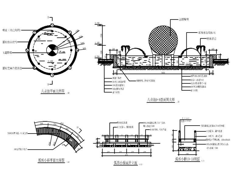 53套泳池喷泉跌水浴场CAD施工图纸_1