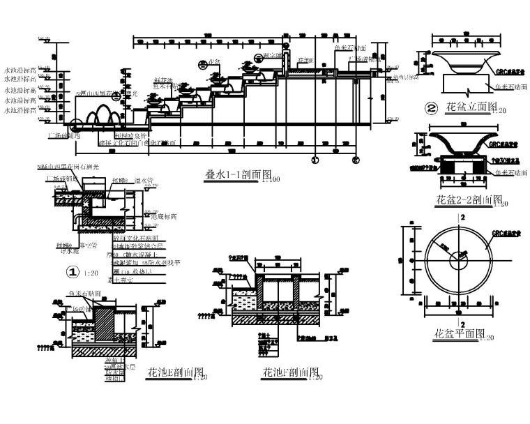 53套泳池喷泉跌水浴场CAD施工图纸_3