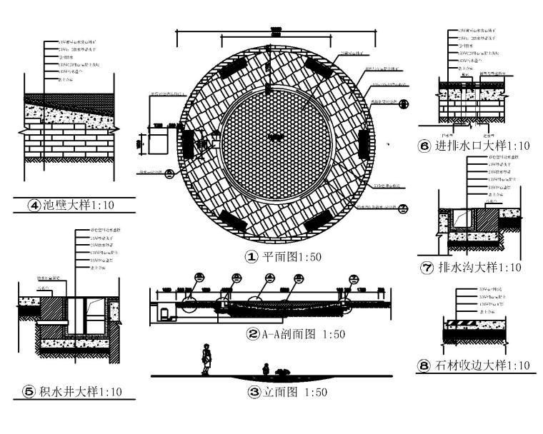 53套泳池喷泉跌水浴场CAD施工图纸_4