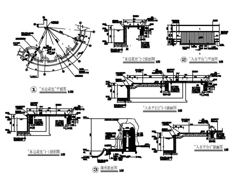 53套泳池喷泉跌水浴场CAD施工图纸_5