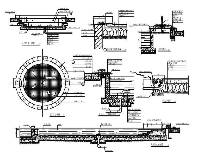 53套泳池喷泉跌水浴场CAD施工图纸_8