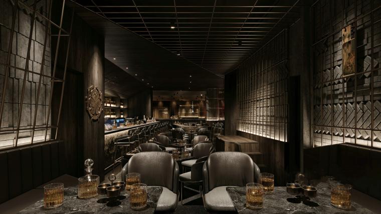 现代暗色调餐厅酒吧3D模型+效果图_1