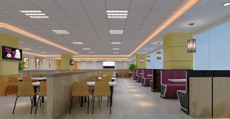 快餐厅设计案例效果图_4