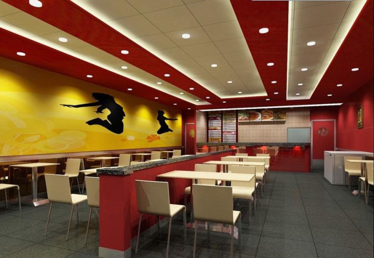 快餐厅设计案例效果图_11