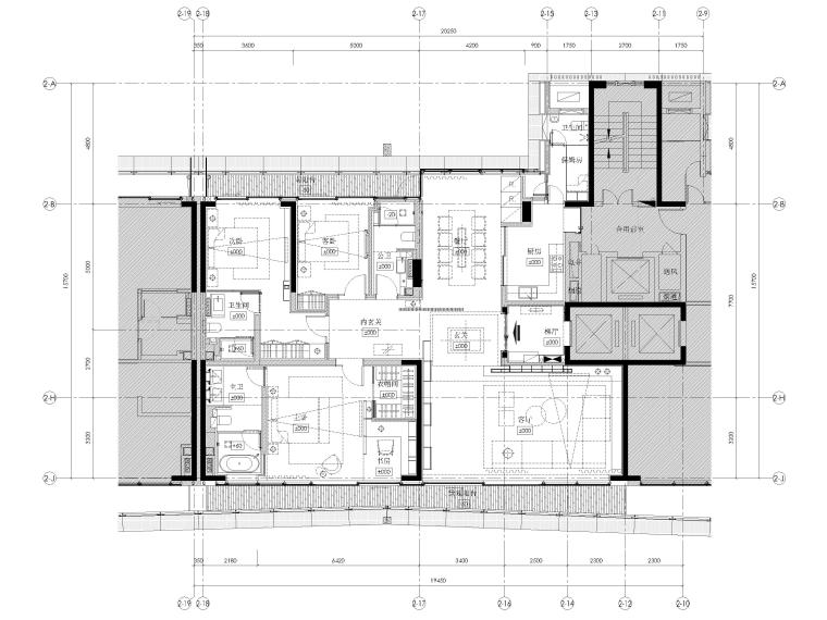 [深圳]九榕台218㎡三居室家装样板间施工图_1