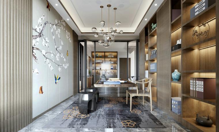 新中式家装书房3D模型+效果图_1