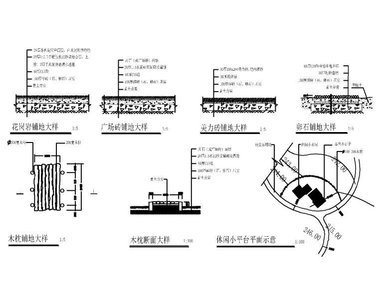 200套广场地面硬质铺装CAD大样图纸_5