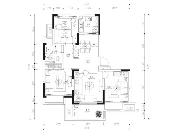 [江苏]85㎡现代两居室家装样板间装修施工图_1