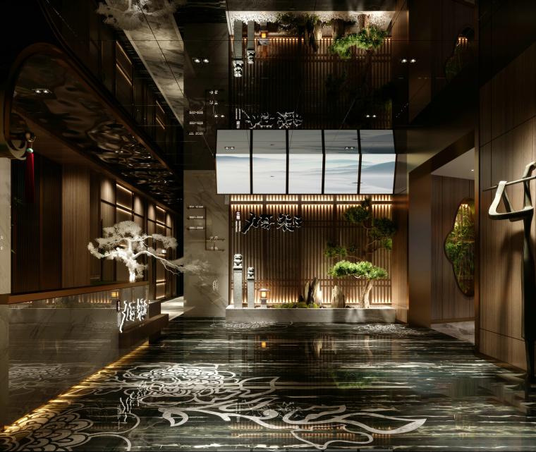 新中式餐厅大堂3D模型+效果图_1