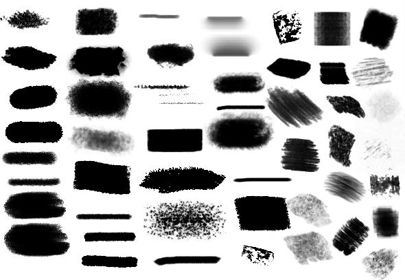 10类蹭痕蜡笔粉涂水彩插画马克笔网点ps笔刷_2