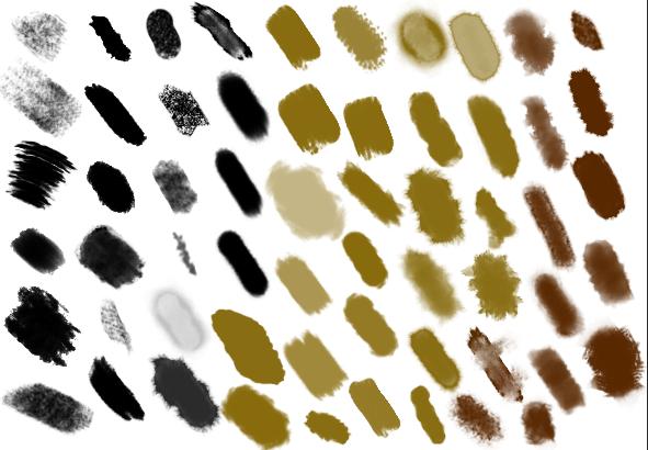 10类蹭痕蜡笔粉涂水彩插画马克笔网点ps笔刷_3