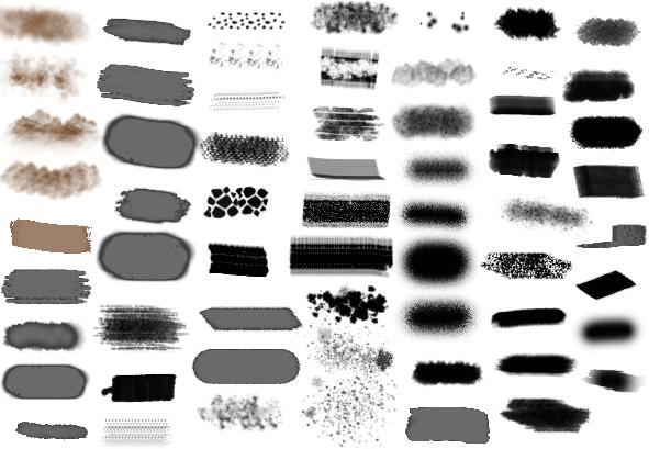 10类蹭痕蜡笔粉涂水彩插画马克笔网点ps笔刷_4