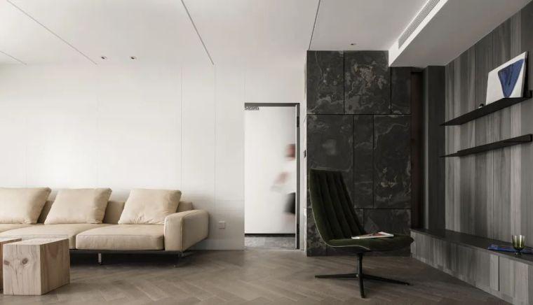 石材、木质与金属,克制平衡的极简空间_1