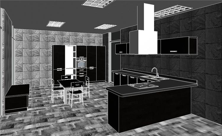 现代风开放式厨房餐厅revit模型_4