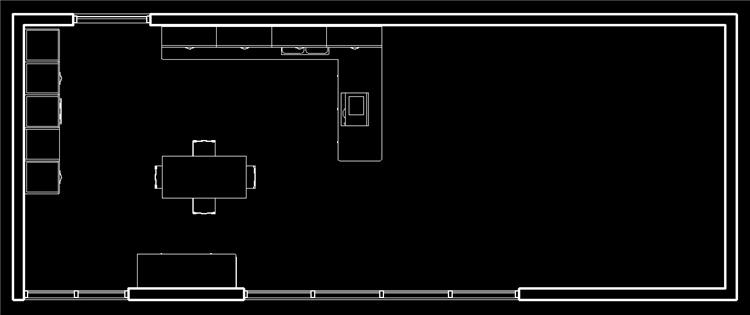现代风开放式厨房餐厅revit模型_5