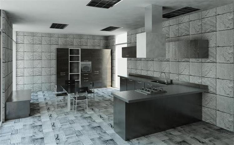 现代风开放式厨房餐厅revit模型_2