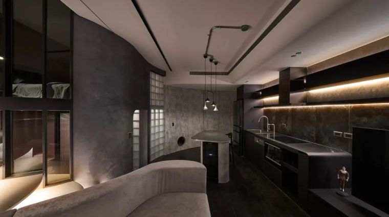 57㎡单人公寓,现代工业风错层空间_3