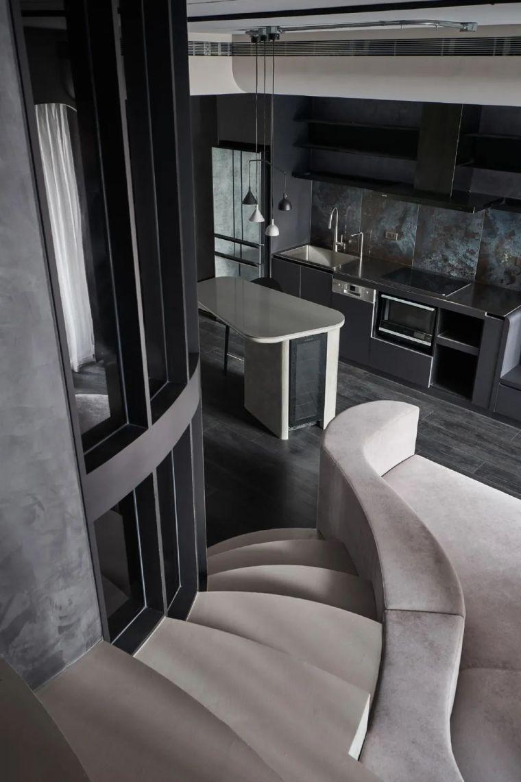 57㎡单人公寓,现代工业风错层空间_12