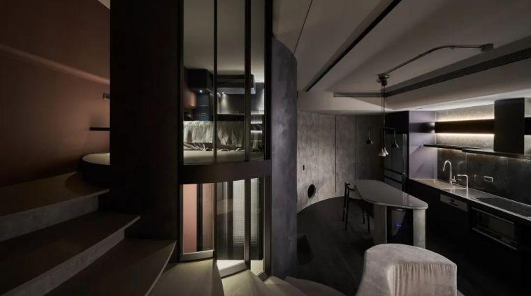 57㎡单人公寓,现代工业风错层空间_13