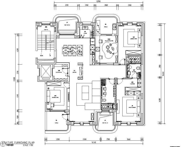 现代极简对白三居室住宅装修施工图设计_1