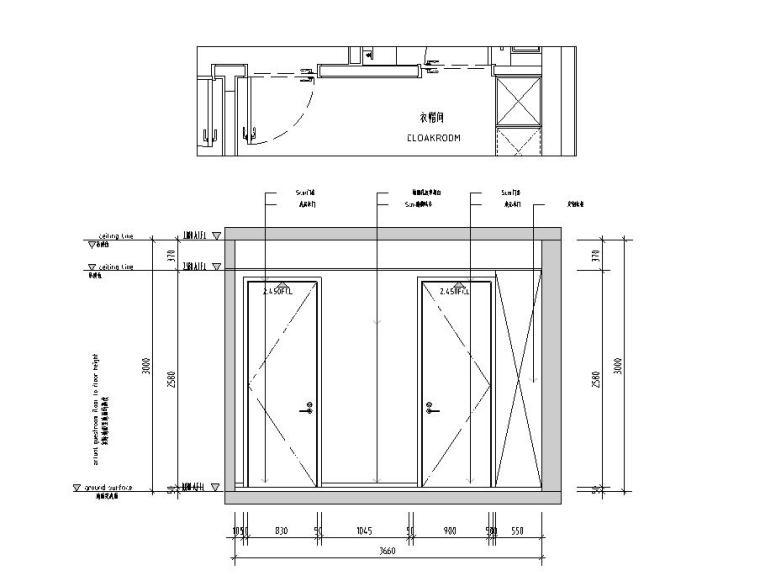 现代极简对白三居室住宅装修施工图设计_11