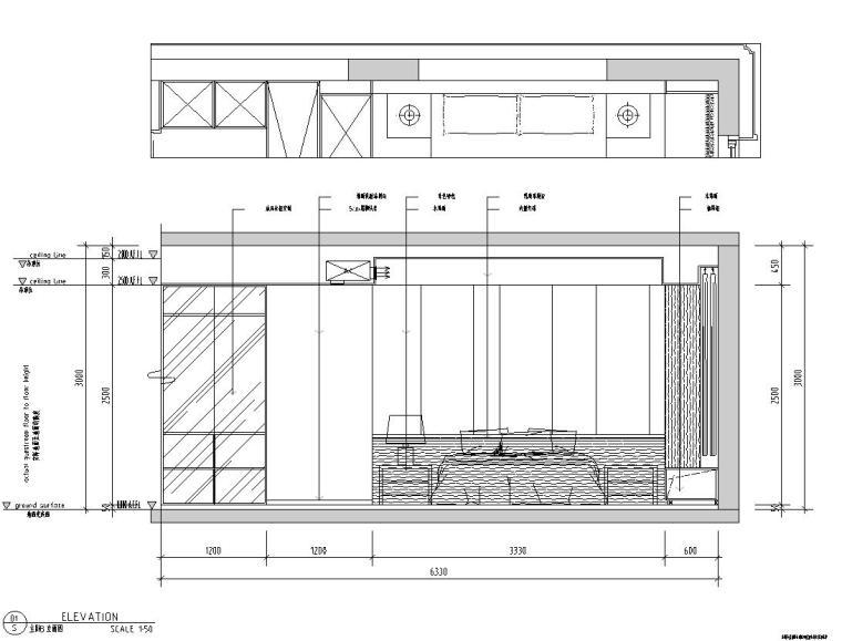 现代极简对白三居室住宅装修施工图设计_9