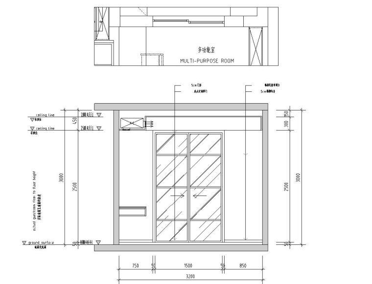 现代极简对白三居室住宅装修施工图设计_7