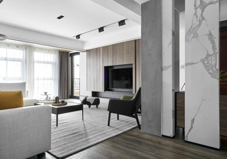 现代极简对白三居室住宅装修施工图设计_15