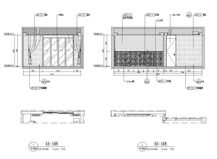 [广东]现代中式800㎡户型别墅样板房施工图_7