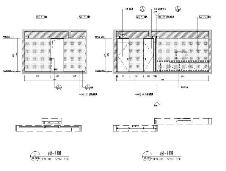 [广东]现代中式800㎡户型别墅样板房施工图_8