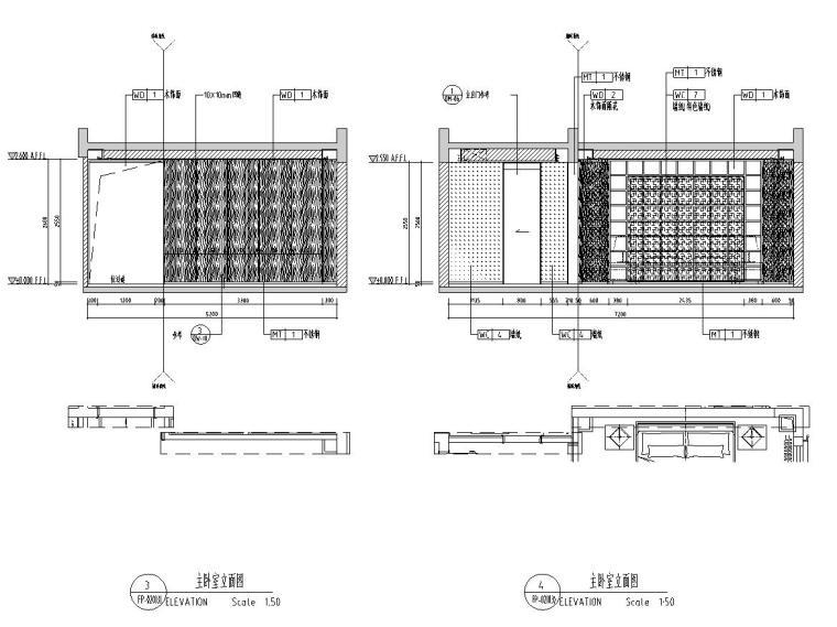 [广东]现代中式800㎡户型别墅样板房施工图_5