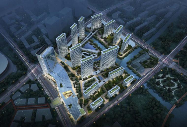 上海现代流线公园住宅+商业综合体建筑方案_1