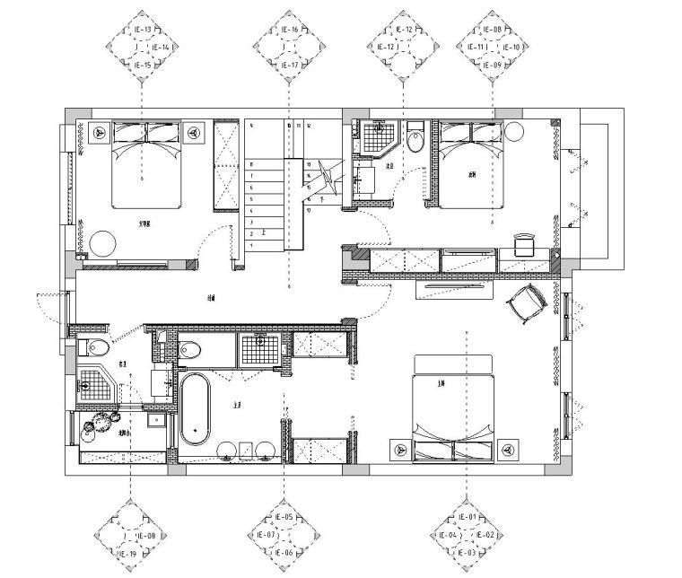 [浙江]300m²东方法式三层住宅装修施工图_8