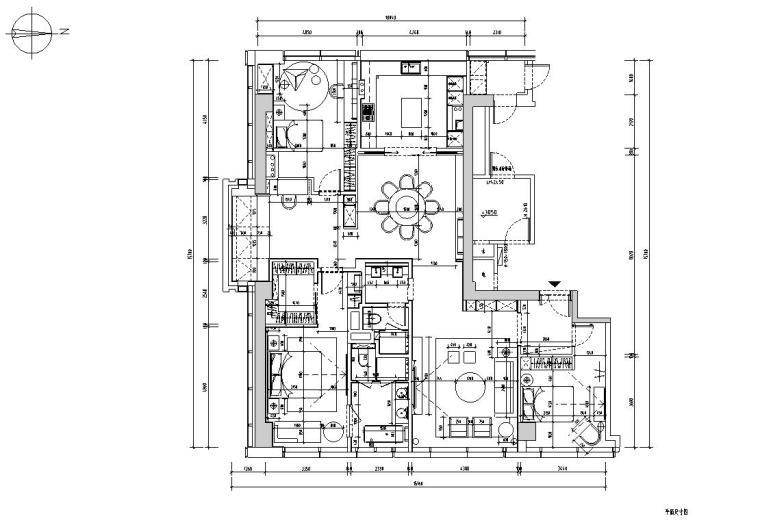 200㎡现代轻奢风格三居室住宅装修施工图_12