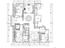 200㎡现代轻奢风格三居室住宅装修施工图