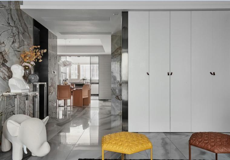 200㎡现代轻奢风格三居室住宅3D模型+效果图_2