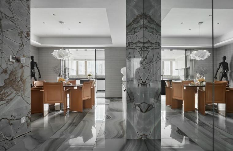 200㎡现代轻奢风格三居室住宅3D模型+效果图_3