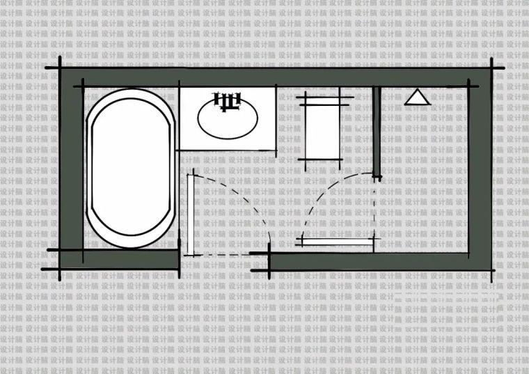 常用的十种卫生间平面方案布局_6