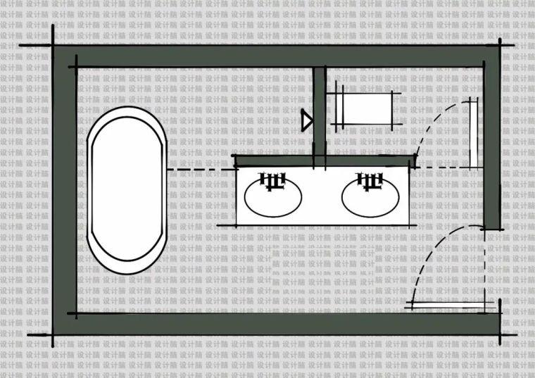 常用的十种卫生间平面方案布局_8